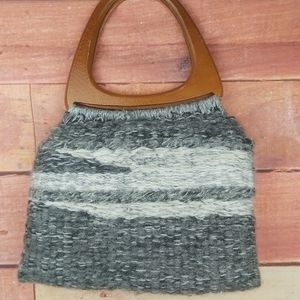 Hand made knitted purse with wool handle
